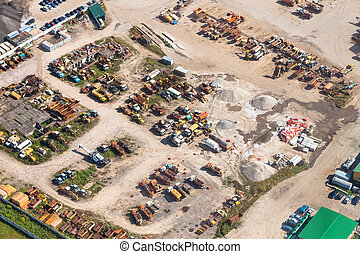 above view of cars in country motor depot near Istra town in...