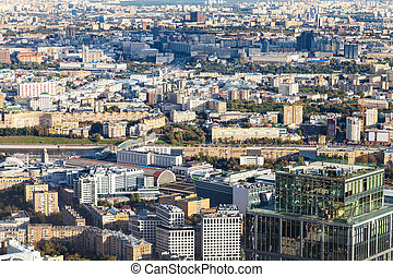 above view of center of Moscow with embankments