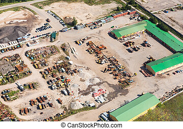 above view of country motor depot near Istra town in Moscow ...