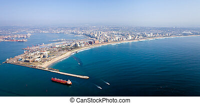 durban city and harbor, south africa - above view of durban...
