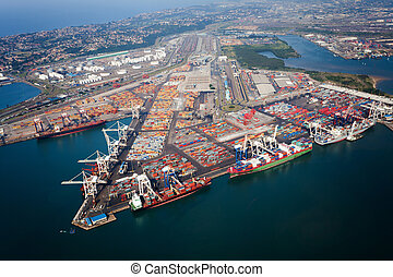 durban harbor, south africa - above view of durban harbor, ...