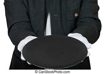 above view of empty black plate in hands in gloves