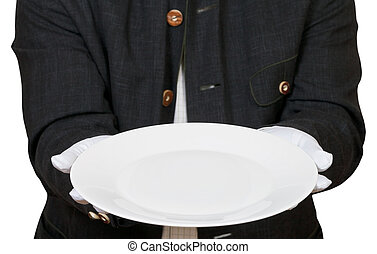 above view of empty white plate in hands in gloves