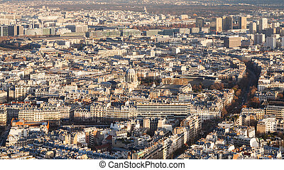 above view of in Paris at winter sunset