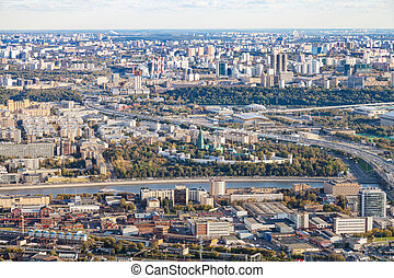 above view of Moscow city with Novodevichy Convent