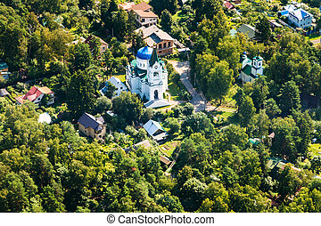 above view of new stone church in Troitsky village