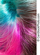 above view of parting of multicolored dyed hairs close up