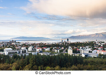 above view of Reykjavik city in autumn evening