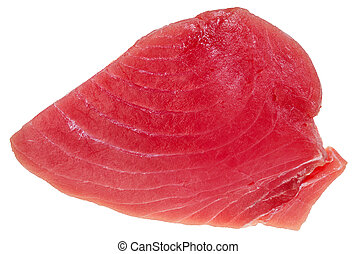 above view of slice of raw tuna fish meat isolated