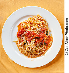 above view of spaghetti with tomato sauce
