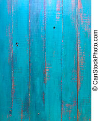 Above view of turquoise green wood planks. Abstrackt ...