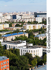 above view of urban living area in Moscow