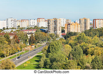 above view of urban street in sunny autumn day