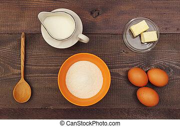 above., vue, confection, table., ingrédients, naturel, pâte, bois
