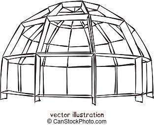 abovedado, vector, individuo, casa, bosquejo, esférico