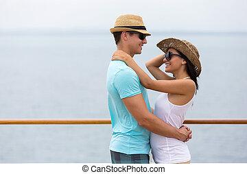 abraçando, cruzeiro navio, par