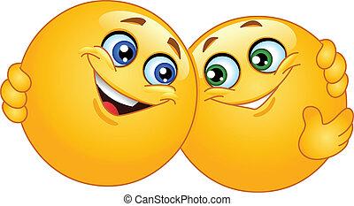 abraçando, emoticons