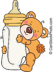 abraçando, leite, garrafa bebê, urso teddy