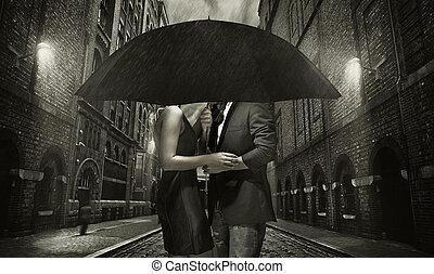 abraçando, par, jovem, chuva