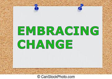 abraçar, mudança, conceito