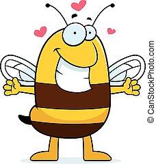 abraço, caricatura, abelha