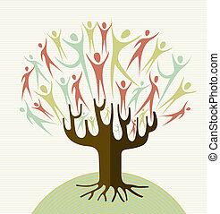abraço, jogo, diversidade, árvore