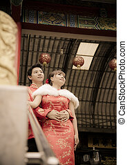 abraço, temple2, chinês, qipao, par, paleto, encantador