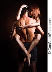 abraços, apaixonado, homens, mulheres