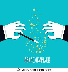 Abracadabra cartoon concept. Cartoon Magicians hands in white gloves holding a magic wand with stars sparks.