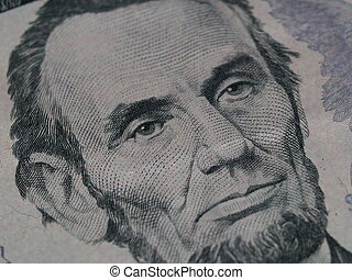 Abraham Lincoln $5 Portrait 5 - A macro photo of the ...