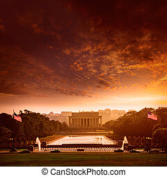 Abraham Lincoln Memorial sunset Washington Dc - Abraham ...