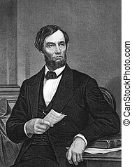 Abraham Lincoln (1809-1865) on engraving from 1873. 16th...