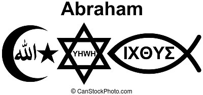 Abraham with symbols of Judaism, Islam and Christianity