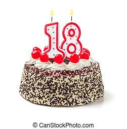 abrasador, 18, número, torta de cumpleaños, vela