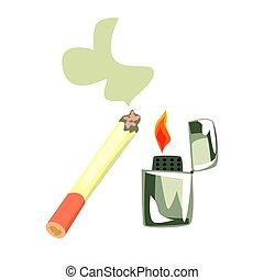 abrasador, colorido, cigarette., ilustración, encendedor, caricatura
