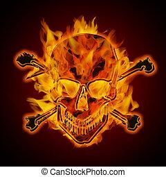 abrasador, cráneo, fuego, llameante, metálico, crossbones