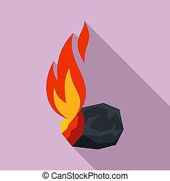 abrasador, estilo, plano, carbón, icono