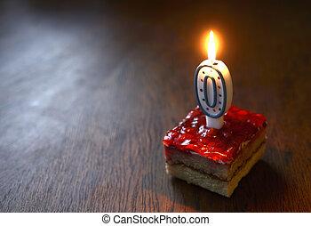 abrasador, formado, cero, torta de cumpleaños, vela