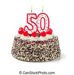 abrasador, número, 50, torta de cumpleaños, vela