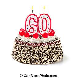 abrasador, número, 60, torta de cumpleaños, vela