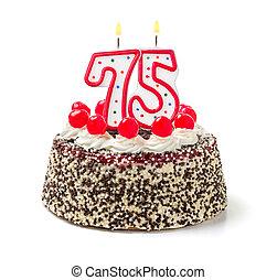 abrasador, número, 75, torta de cumpleaños, vela