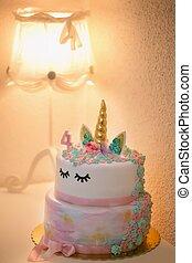 abrasador, número, cumpleaños, 4, pastel, vela