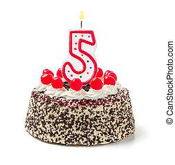 abrasador, número, cumpleaños, 5, pastel, vela