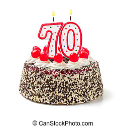 abrasador, número, cumpleaños, 70, pastel, vela
