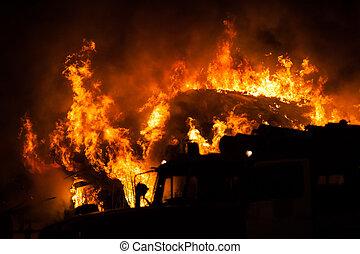 abrasador, parquede bomberos, techo, de madera, llama