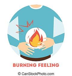 abrasador, stomach., sentimiento, gastritis, síntoma