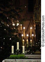 abrasador, velas, en, iglesia, altar