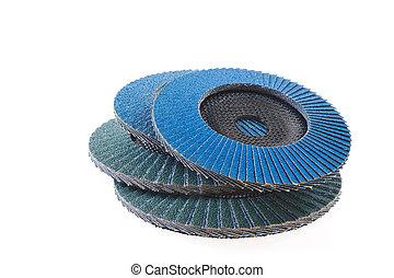 Abrasive disks for grinder isolated on white