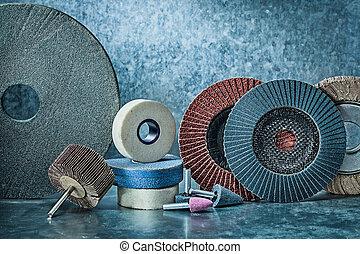 abrasive tools set on metalic background