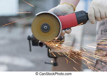 abrasivo, chispas, vuelo, metal, corte, disk.